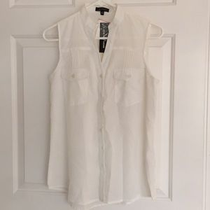 Spence white button up tank blouse S